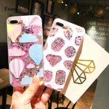 From Jenny For iPhone 7 Case Glitter Liquid Quicksand Sequins Cover Hot Air Balloons Diamonds for iPhone 6splus 6 6S 7 plus
