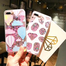 From Jenny For iPhone 7 Case Glitter Liquid Quicksand Sequins Cover Hot Air Balloons Diamonds for iPhone 6splus 6 6S 7 plus(China)