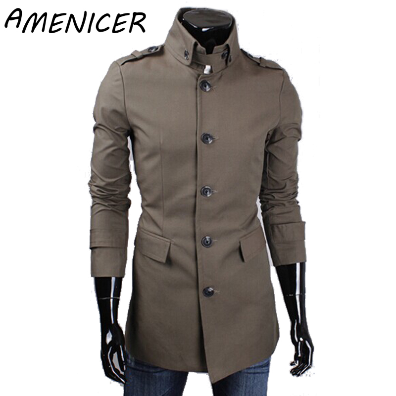 Autumn Famous Brand Hot Sale Mens Single Breasted Long Trench Coats Mens Fashion Cotton Trench Coat 4 Colors Masculina