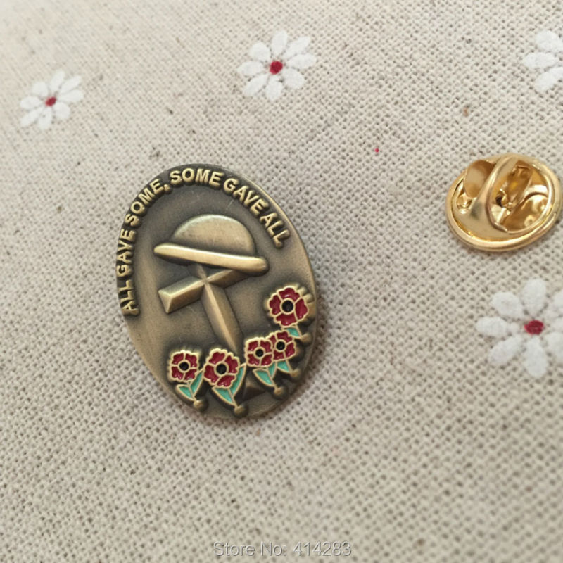 10pcs wholesale British souvenir badge world war ii all gave some, some gave all lapel pin poppy creast  flower enamel brooch