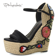 Pink Palms women summer Embroidered suede wedge espadrille shoes hibiscus flower applique supper high heel elegant sandals