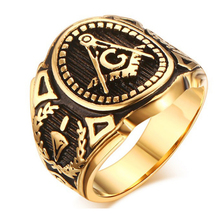 Buy Vintage Men Masonic Rings Stainless Steel Jewelry Wedding Band Men Retro Gold Color Titanium Punk Rings for $4.24 in AliExpress store