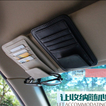 Freeshipping Car Vehicle Sun Visor Sunglasses Eyeglasses Glasses Holder Clip Credit Card Package ID Storage Bag With 3 Color(China)