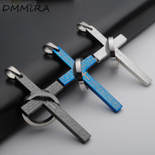 Hot Fashion Sacred Cross Pendant Silver Black Blue Stainless Steel Cross Bible Lection Sanskrit Circle Pendant Necklace Jewelry(China)