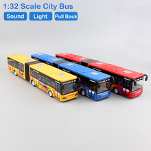 1:32 Scale Mini Children sound big city bus light pull back metal diecast model collection Car styling electric toys for boys(China)
