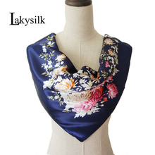 [Lakysilk]Elegant Silk Square Large Scarf For Women Floral Rose Print Sati Wraps Women's Accessories China Cheap Head Scarves