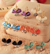 New Fashion Korea Style Wings Rhinestones Purple Bow Butterfly Stud Earrings for Women  CED18