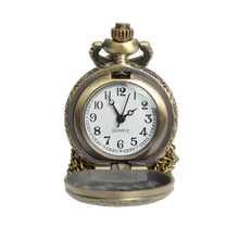 2017 New russian bronze vintage round with heart face roman fashion quartz pocket watch Fob watch for lover girlfriend gift