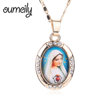 OUMEILY Trendy Necklaces For Women Men Gold Color Imitated Crystal Jewelry Pendant Jesus Statement Rhinestone Dress Accessories