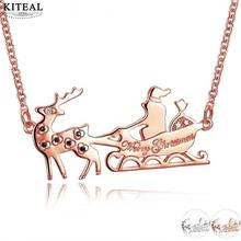 KITEAL best friends Gold color necklaces pendants for women&men Deer and santa Merry Christmas gift perfume women bone(China)