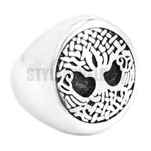 Great Life Tree Celtic Knot Ring Stainless Steel Jewelry Claddagh Style Motor Biker Life Tree Ring Wholesale SWR0383(China)