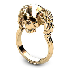 European And American Punk Skull Punk Skull Ring Skull Skeleton Hand Ring Punk Style Men Ring New Skull Men's Jewelry Ring(China)