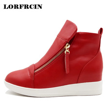 LORFRCIN Zipper Women Boots Hidden Heel Wedges Boots Genuine Leather Platform Shoes High Top Ankle Boots Two Zips Ladies Shoes(China)