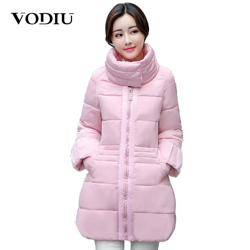 Vodiu Winter Jacket Women Parka Stand Collar Flar Sleeve Zipper Solid Color Warm Winter Female Fashion Casual Outerwear CoatsÎäåæäà è àêñåññóàðû<br><br>