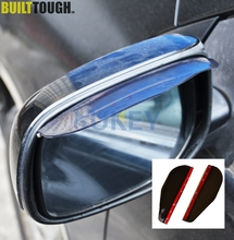 Pair Smoked Black Car Door Side Rear View Wing Mirror Rain Visor Guard Weather Snow Shield Sun Shade Cover Rearview Universal