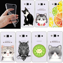 Phone Cases For Samsung Galaxy S3 S4 S5 S6 S7 edge S3/S4/S5 mini A3 A5 A310 A510 J510 Note 2 3 4 Soft Tpu Transparent Cat Cover(China)