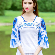 Chinese Style Women T Shirt Embroidered Tops Women 3/4 Sleeve Female Pullover Tops Square Collar Casual Chiffon T-shirt E669