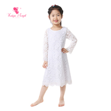 Kaiya Angel 2017 New Girls Dress White Lace Long Sleeve Lace Dress Baby Girl Clothes Lace Ruffle Sleeve Toddler Girl Dresses(China)