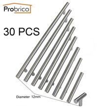 Probrico 30PCS Cabinet T Bar Handle Diameter 12mm CC 50mm~320mm Stainless Steel Furniture Drawer Knob Kitchen Cupboard Door Pull(China)