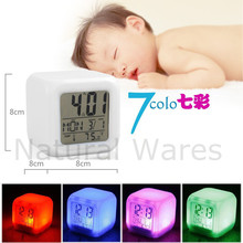 Fashion LED Colour Digital Alarm Clock Changing LCD Thermometer Date Time Night Light Watch Gift Free Shipping & Wholesale