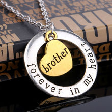 New Designs Family Member Gift Retro Silver Elegant Circle Heart Pendant Necklace Forever In My Heart For Brother Birthday Gift