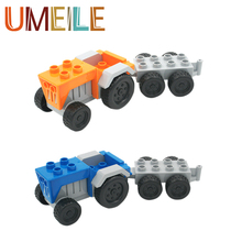 UMEILE Duplo Original Classic City Tractor Wagon Model Block Educational Kids Toys Paly House Game Boy Girl Gift Brinquedos