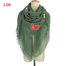 Western Branded Design Plain Cotton Wrap Shawl Solid Color Large Women Badge Scarf Spring Autumn lovely pashmina 140 x 140 cm