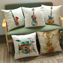 Drum Guitar Sax Throw Cushion Covers Watercolor Music Instrument Decorative Pillow Cover for Sofa Car Chair coussin decoration