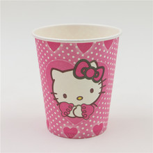 10Pcs Hello Kitty paper cup Boys and Girls Baby Happy Birthday Party Decoration Kid Supplies Favors christmas Paper Cup Drink