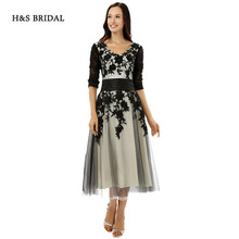 H&S BRIDAL V Neck Half Sleeves Lace Appliques Short Prom Dresses Women Sleeved Party Knee Length Evening Dresses