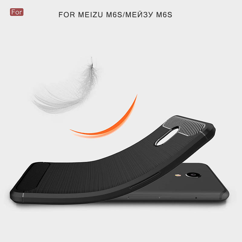 carbon fiber brushed silicone case meizu m6s (5)