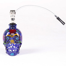 1PC New Fashion Coloured Drawing Glass Skull Water Pipe Mini Nargile Hookah Smoking Shisha Tobacco Herb Herbal Hookah Pipes