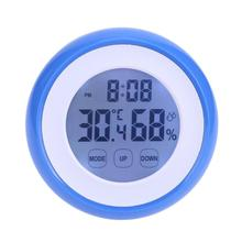 Indoor Digital LCD Thermometer Hygrometer with Backlight Touch Screen Time Clock Electronic Temperature Humidity Weather Station(China)
