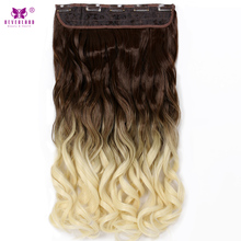 "Neverland 24"" Synthetic Wavy Hair One Piece 5Clips Ombre Natural Brown to Beige Hairpiece Clip in Hair Extension Women Wigs"