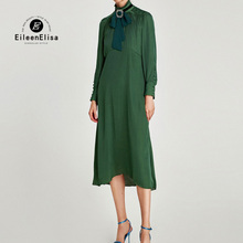 Deep Green Turtleneck Elegant Dress Women for Office High Quality Plus Size Dress(China)