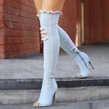Teahoo Women Stretch Denim Boots Thigh High Boots High Heels Over the Knee Boots 2017 Long Shoes Woman Peep Toe Side Zipper(China)