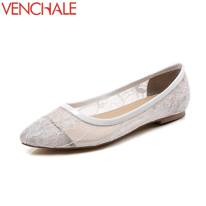 VENCHALE 2018 new air mesh pregnant apply pointed toe breathable shoes comfortable spats shallow sheepskin slip-on woman pumps<br>