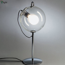 Modern Lustre Plate Crhome Metal Clear Bubble Glass Table Lamp Study Room Nordic Minimalism Led Bedside Lamp With Original E27