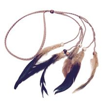 1PC Ethnic Women Girls Boho Indian Feather Head Band Weave Hippie Braided Hair Band Headpiece Festival