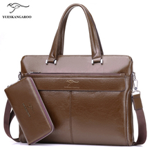 YUES KANGAROO Brand Factory Sale High Quality Leather Men Briefcase 14 inch Leather Men Handbag For Laptop Classic Business Bag