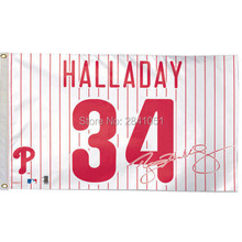 Philadelphia Phillies Halladay Player Jersey Outdoor Indoor Baseball College Flag 3X5 Custom Any Flag(China)