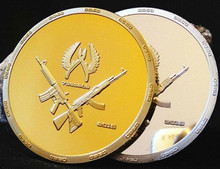 2pcs/lot(2*1),  war game CSGO counter strike global offensive brass core gold silver plated America souvenir coin set