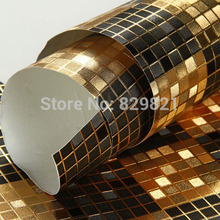 Glitter Wallpaper Gold Foil Mosaic Wall Paper Roll Waterproof Bathroom Kitchen Vinyl Wallpapers Papel De Parede Mica Black(China)