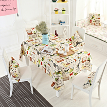 American Style Cotton Linen Tablecloth for Parties Christmas Table Cloth Rectangular Bird Butterfly Pattern Dining Table Cover(China)