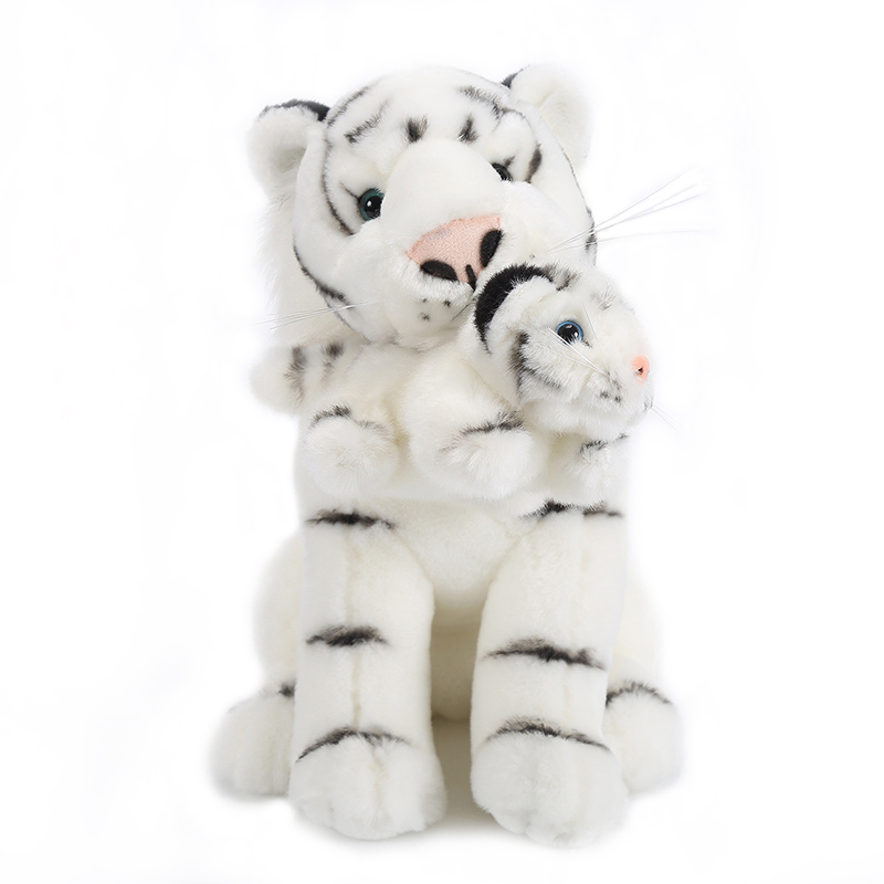 "New Style Plush Doll Emulational Animal Stuffed Toy White Mother Tiger with Baby Best Gift for Kid Boy Birthday Gift 6*11""(China (Mainland))"
