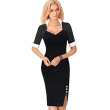 Vintage Women Business Bodycon Wear To Work Sheath Dress Stand Collar Side Split Tunic Pencil Formal Dresses Plus Size B47