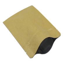 7*10cm 200Pcs / Lot Kraft Paper Aluminum Foil Valve Zip Lock Pack Bag Nut Coffee Retro Heat Seal Kraft Storage Package Pouches(China)