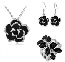 JS S063 Flower Jewelry Set High Quality Necklace Earring And Ring Sets Nickel Free Black Jewelry Sets