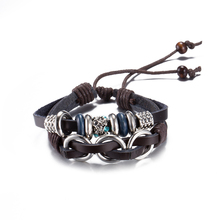 Cool Double Layers Wide Cow Leather Charm Bracelet Hand Made Braided Soft Leather round Studded Bracelets Bronze Buckle Bangles