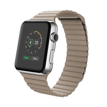 Genuine Leather Loop strap for apple watch for iwatch 38 42mm watchband roundabout fashion Magnetic Closure Band
